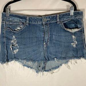 Warehouse One Distressed Blue Jean Shorts